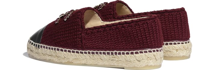 image 3 - Espadrilles - Knitted Wool & Lambskin - Burgundy & Black
