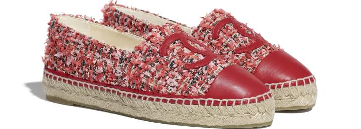 image 2 - Espadrilles - Tweed & Lambskin - Coral, Pink, Black & Red