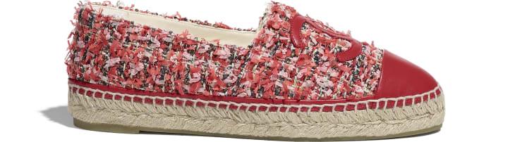 image 1 - Espadrilles - Tweed & Lambskin - Coral, Pink, Black & Red