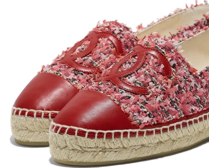 image 4 - Espadrilles - Tweed & Lambskin - Coral, Pink, Black & Red