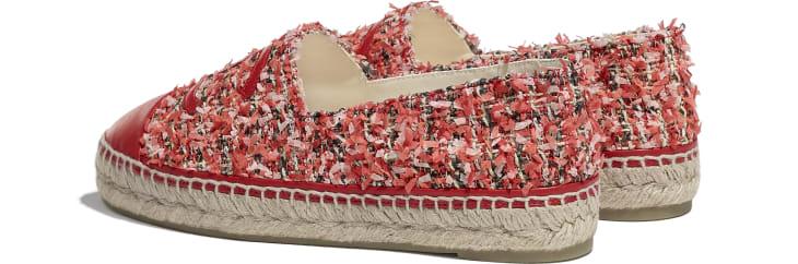 image 3 - Espadrilles - Tweed & Lambskin - Coral, Pink, Black & Red