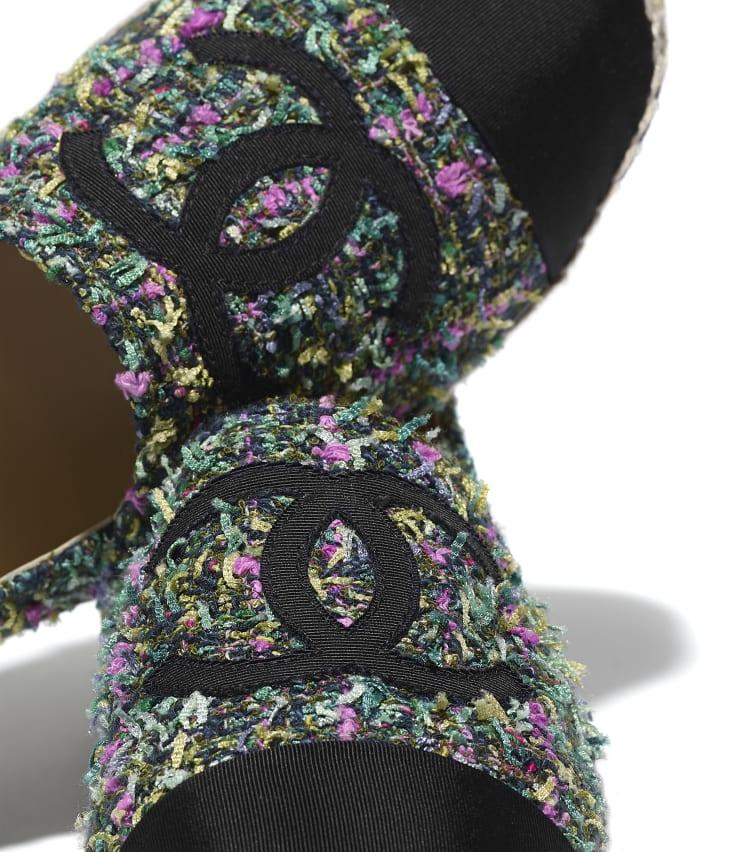 image 4 - Espadrilles - Tweed & gros-grain - Vert, rose, jaune & noir