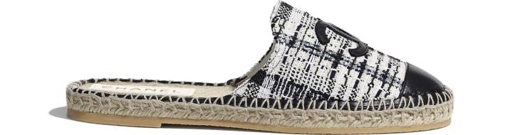 image 1 - Espadrilles - Tweed & agneau - Ivoire, gris & noir