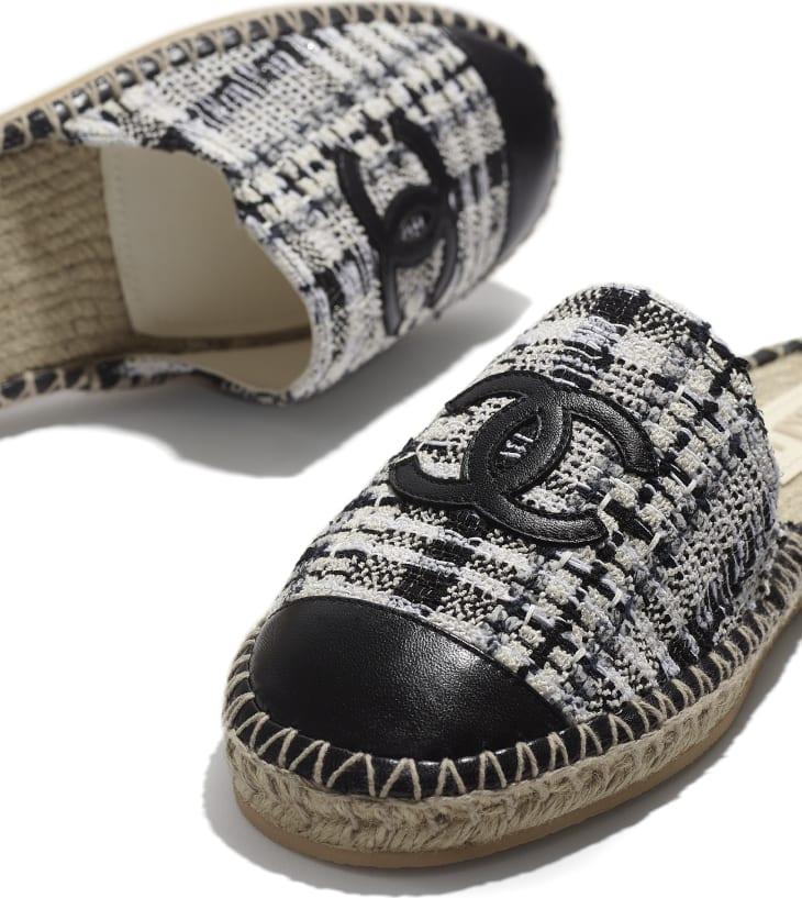 image 4 - Espadrilles - Tweed & agneau - Ivoire, gris & noir