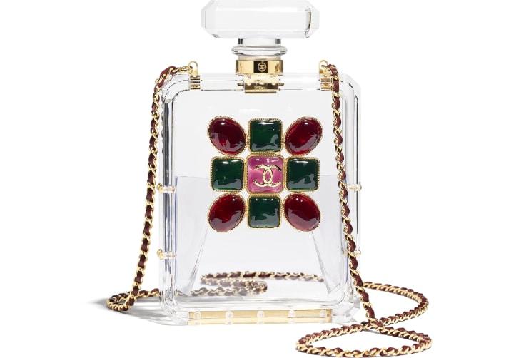 image 1 - Bolsa De Noite - Resina, Esmalte & Metal Dourado - Transparente, Vermelho & Verde