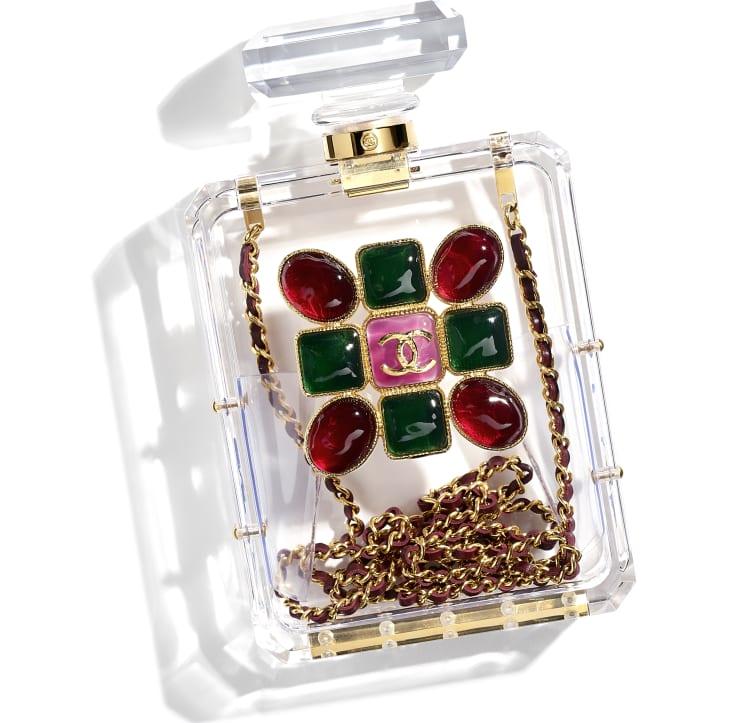 image 4 - Bolsa De Noite - Resina, Esmalte & Metal Dourado - Transparente, Vermelho & Verde