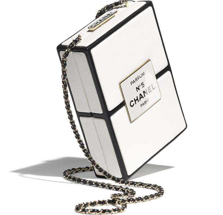 image 4 - Evening Bag - Lambskin & Gold-Tone Metal - White & Black