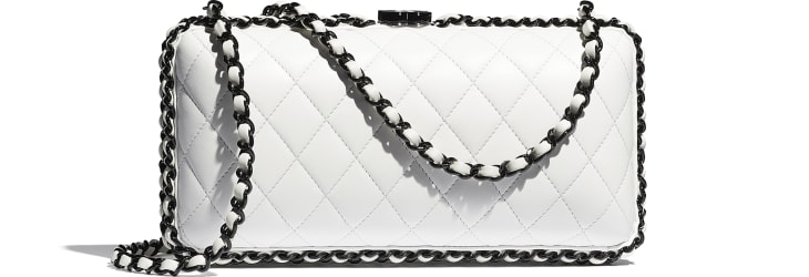 image 2 - Evening Bag -  Lambskin & Lacquered Metal - White & Black