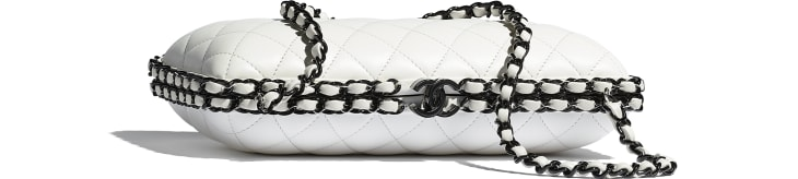 image 1 - Evening Bag -  Lambskin & Lacquered Metal - White & Black