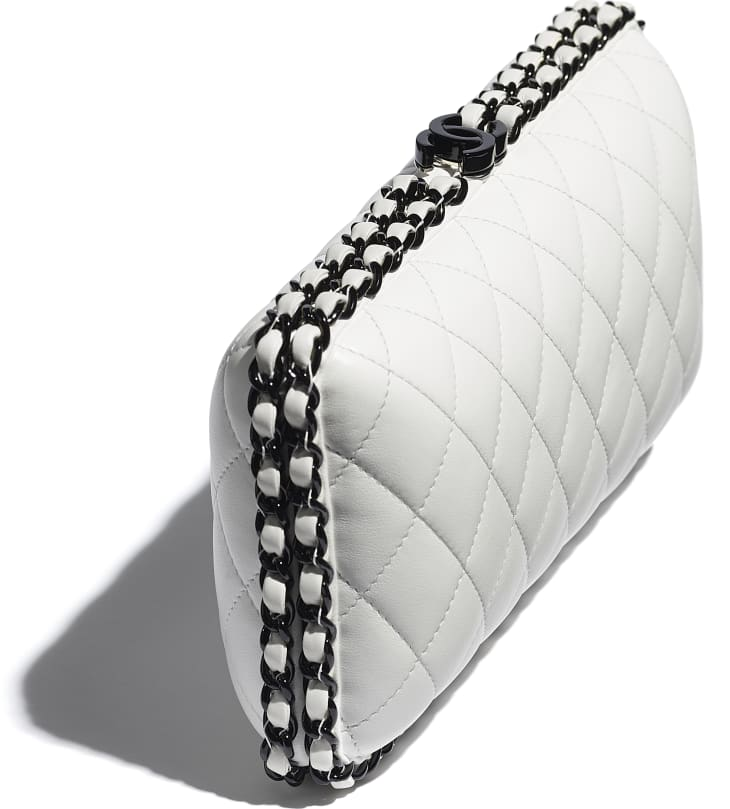 image 4 - Evening Bag -  Lambskin & Lacquered Metal - White & Black