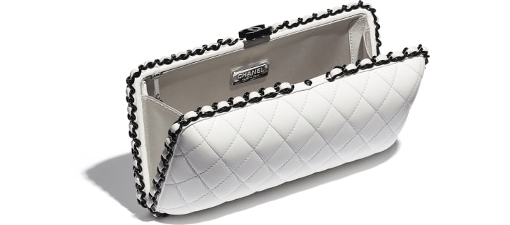 image 3 - Evening Bag -  Lambskin & Lacquered Metal - White & Black