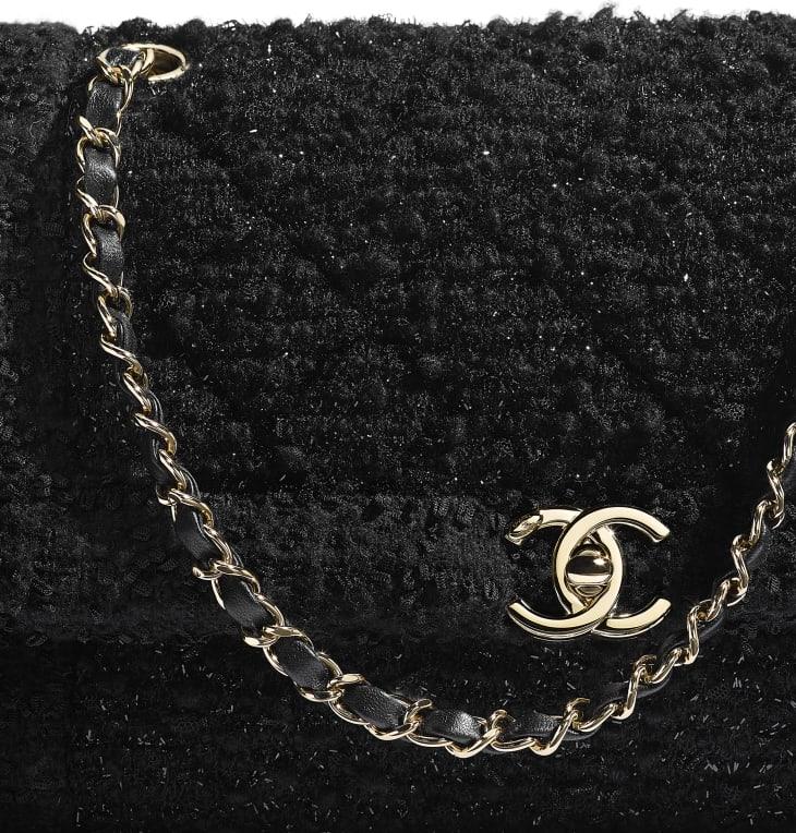 image 4 - Bolsa - Tweed & Metal Dourado - Preto