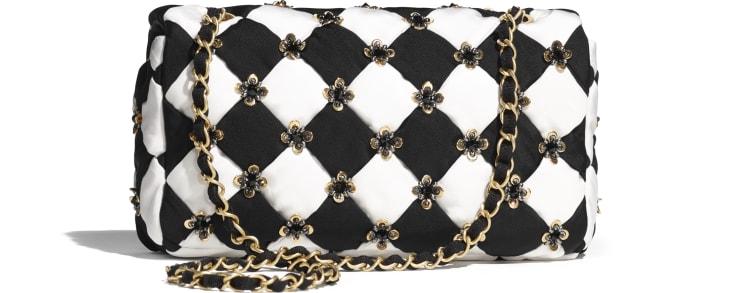 image 2 - フラップ バッグ - シルク、コスチューム パール & スパンコール - ブラック & ホワイト