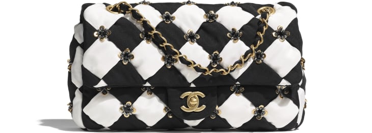 image 1 - フラップ バッグ - シルク、コスチューム パール & スパンコール - ブラック & ホワイト