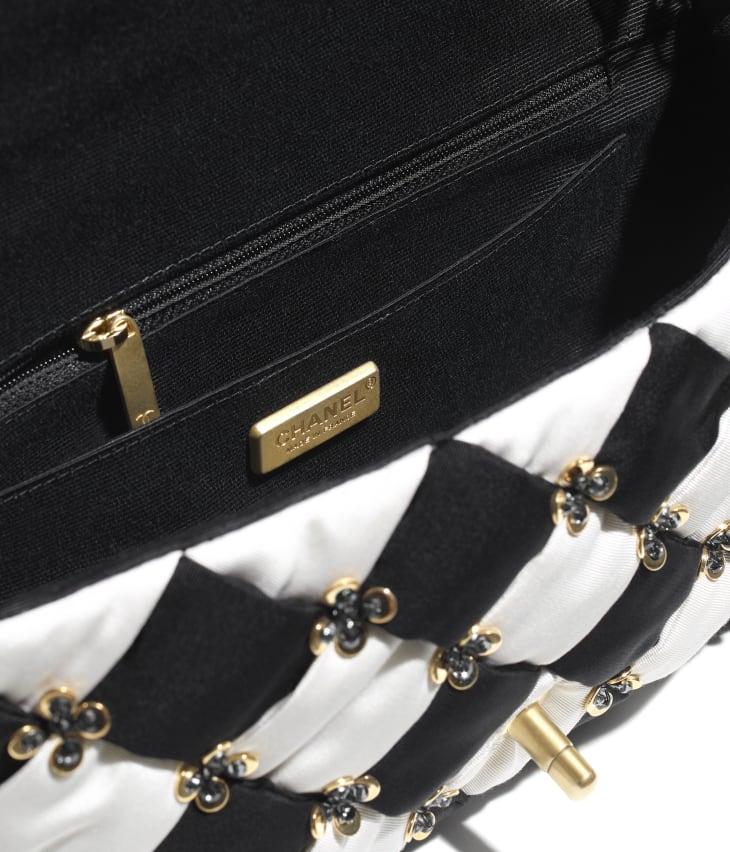 image 3 - フラップ バッグ - シルク、コスチューム パール & スパンコール - ブラック & ホワイト