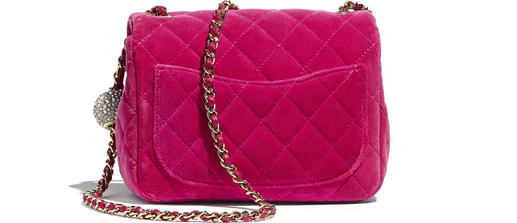image 2 - Flap Bag - Velvet, Strass & Gold-Tone Metal - Fuchsia