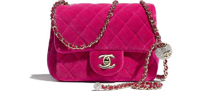 image 1 - Flap Bag - Velvet, Strass & Gold-Tone Metal - Fuchsia