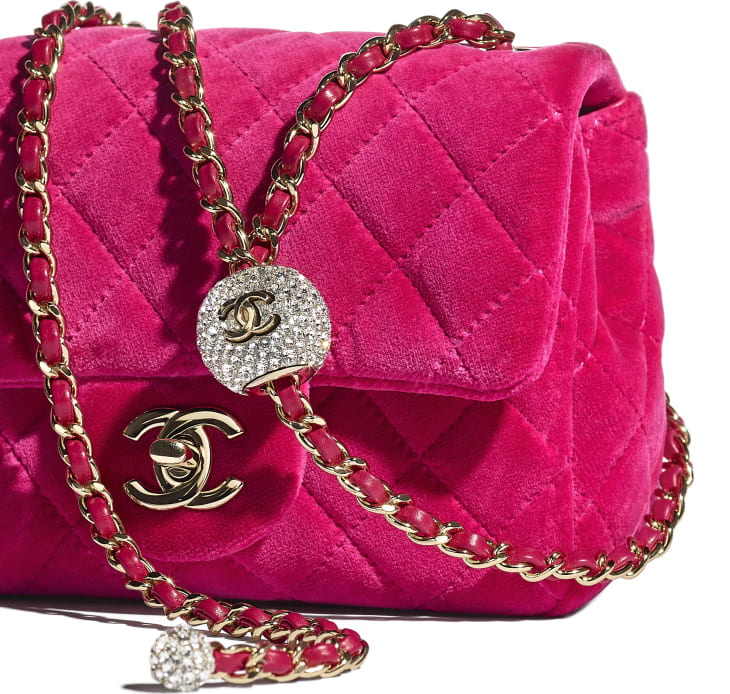 image 4 - Flap Bag - Velvet, Strass & Gold-Tone Metal - Fuchsia