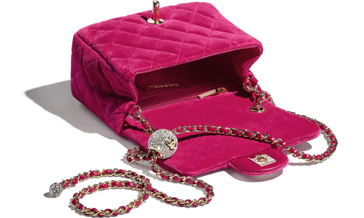 image 3 - Flap Bag - Velvet, Strass & Gold-Tone Metal - Fuchsia