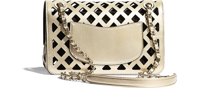 image 2 - Flap Bag - Metallic Perforated Calfskin, Tweed & Gold-Tone Metal - Gold