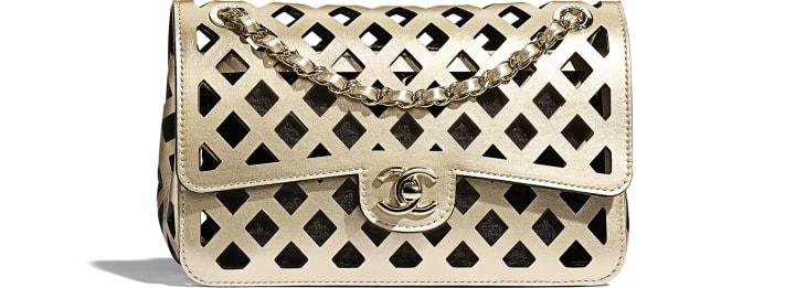 image 1 - Flap Bag - Metallic Perforated Calfskin, Tweed & Gold-Tone Metal - Gold