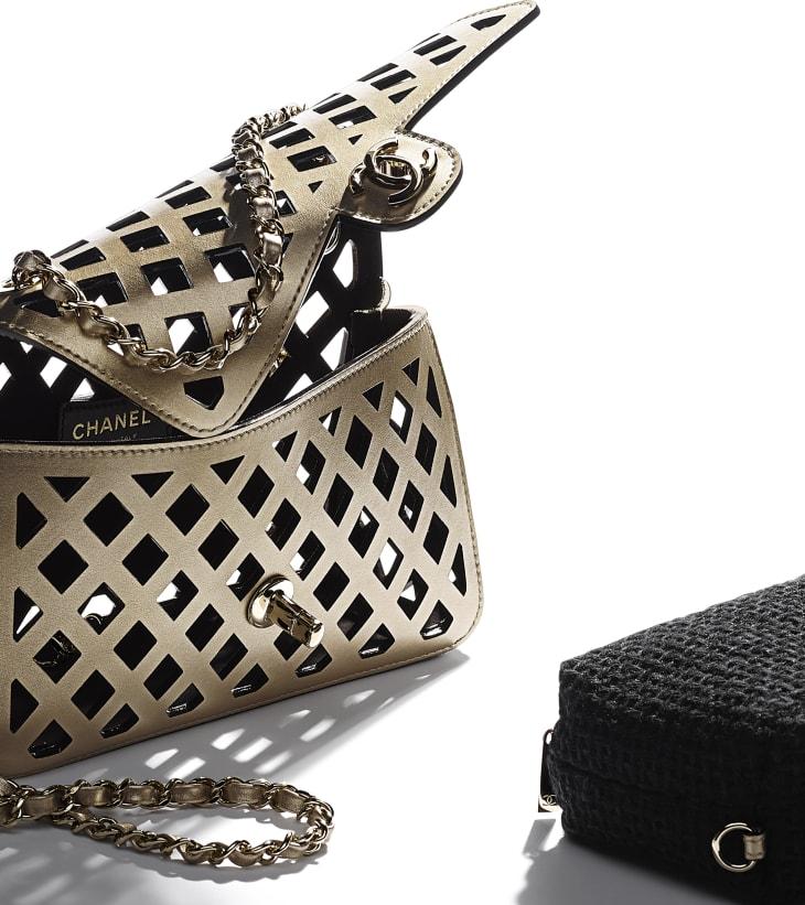 image 4 - Flap Bag - Metallic Perforated Calfskin, Tweed & Gold-Tone Metal - Gold