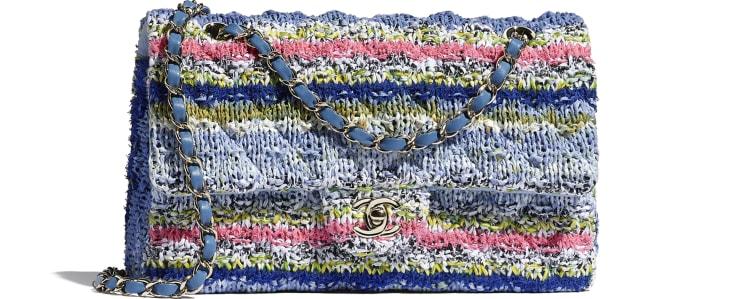 image 1 - Flap Bag - Knit & Gold-Tone Metal - Multicolour