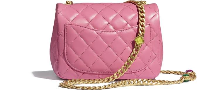 image 2 - Flap Bag - Lambskin, Resin & Gold-Tone Metal - Pink