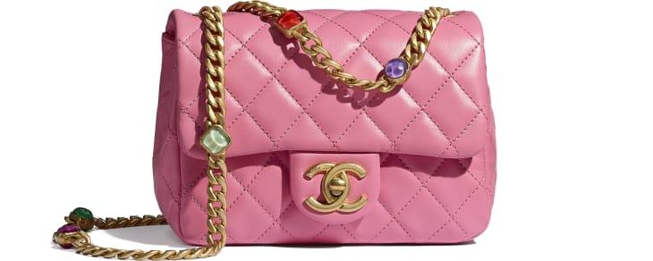 image 1 - Flap Bag - Lambskin, Resin & Gold-Tone Metal - Pink