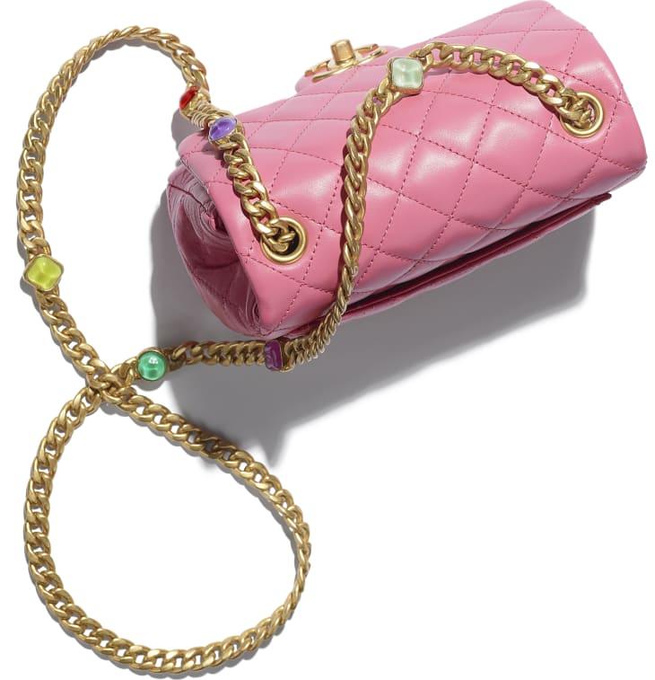 image 4 - Flap Bag - Lambskin, Resin & Gold-Tone Metal - Pink