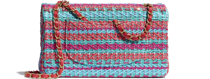 image 2 - Flap Bag - Cotton, Mixed Fibers & Gold-Tone Metal - Red, Fuchsia & Blue