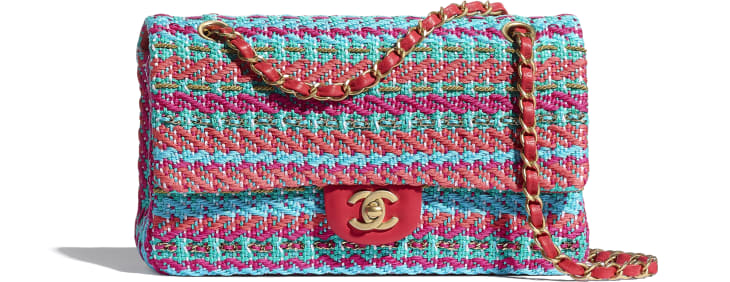 image 1 - Flap Bag - Cotton, Mixed Fibers & Gold-Tone Metal - Red, Fuchsia & Blue