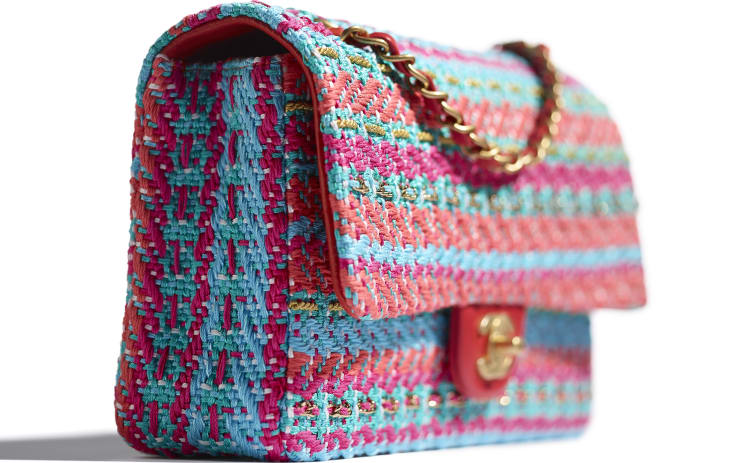 image 4 - Flap Bag - Cotton, Mixed Fibers & Gold-Tone Metal - Red, Fuchsia & Blue
