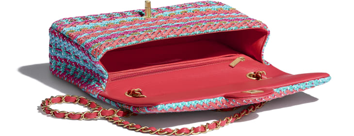 image 3 - Flap Bag - Cotton, Mixed Fibers & Gold-Tone Metal - Red, Fuchsia & Blue