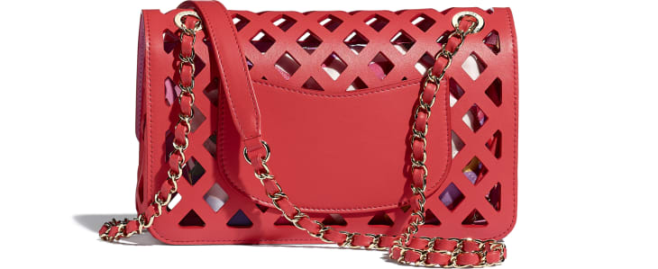 image 2 - Flap Bag - Perforated Calfskin, Printed Fabric & Gold-Tone Metal - Red