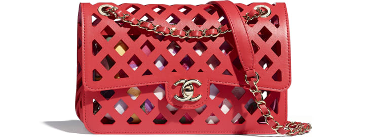 image 1 - Flap Bag - Perforated Calfskin, Printed Fabric & Gold-Tone Metal - Red