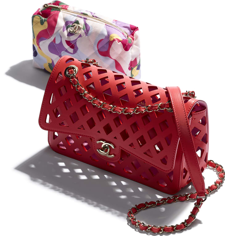 image 4 - Flap Bag - Perforated Calfskin, Printed Fabric & Gold-Tone Metal - Red