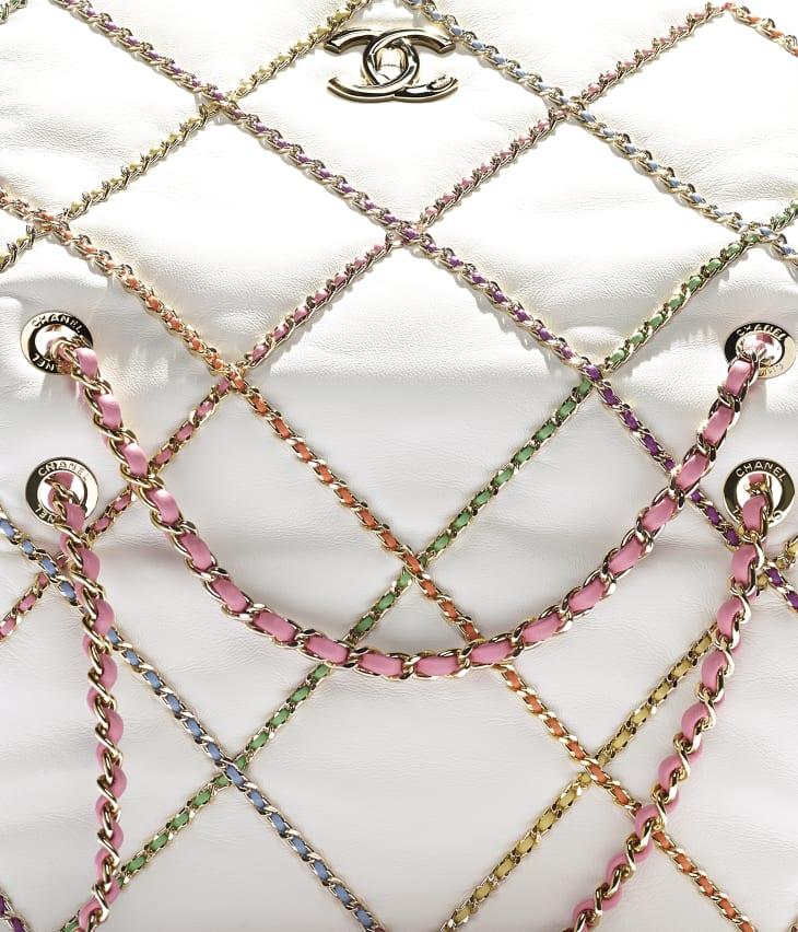 image 4 - Flap Bag - Lambskin & Gold Metal  - White & Multicolor