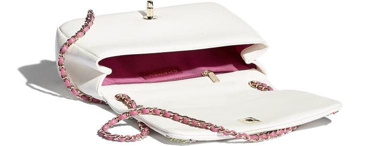 image 3 - Flap Bag - Lambskin & Gold Metal  - White & Multicolor