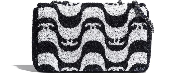image 2 - Flap Bag - Sequins & Ruthenium-Finish Metal - White & Navy Blue