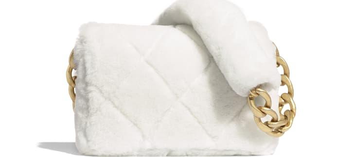 image 2 - Flap Bag - Shearling Lambskin & Gold-Tone Metal - White