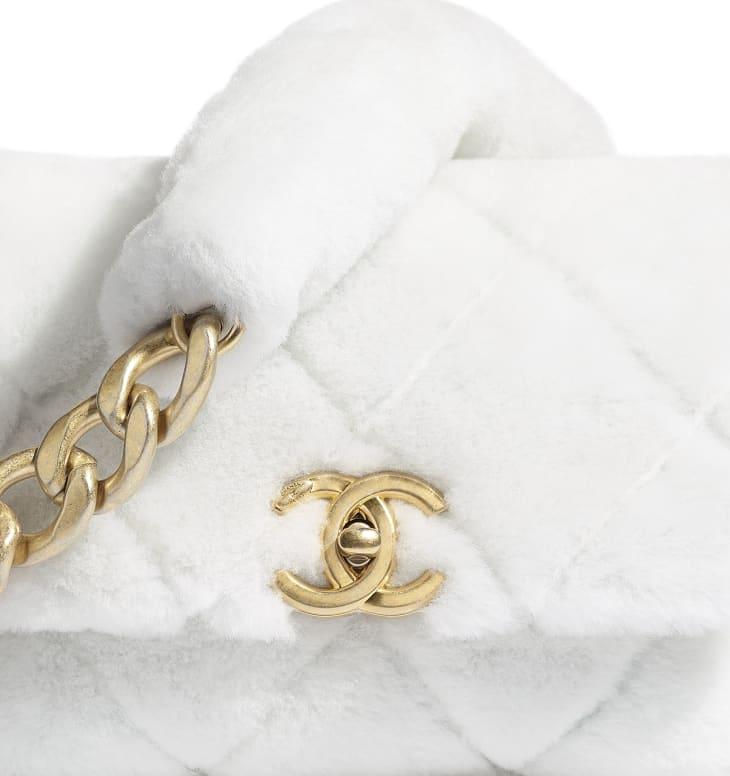 image 4 - Bolsa - Couro De Cordeiro & Metal Dourado - Branco