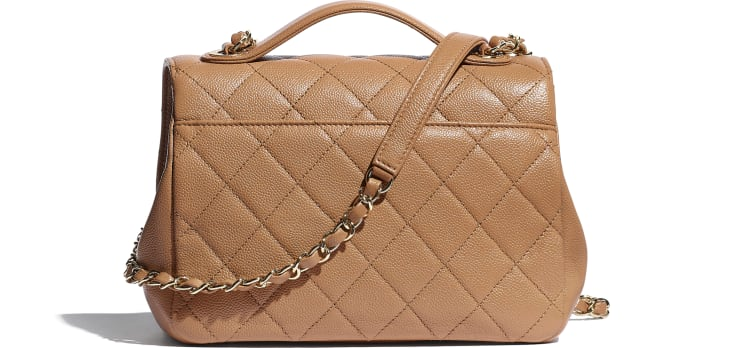 image 2 - Flap Bag with Top Handle - Grained Calfskin & Gold-Tone Metal - Brown