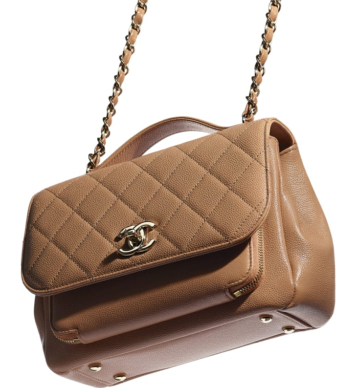 image 4 - Flap Bag with Top Handle - Grained Calfskin & Gold-Tone Metal - Brown
