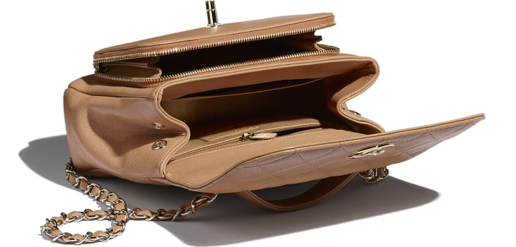 image 3 - Flap Bag with Top Handle - Grained Calfskin & Gold-Tone Metal - Brown