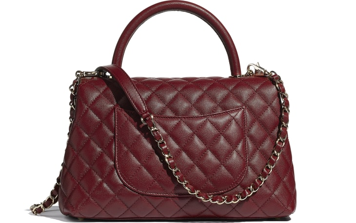 image 2 - Flap Bag with Top Handle - Grained Calfskin & Gold-Tone Metal - Burgundy