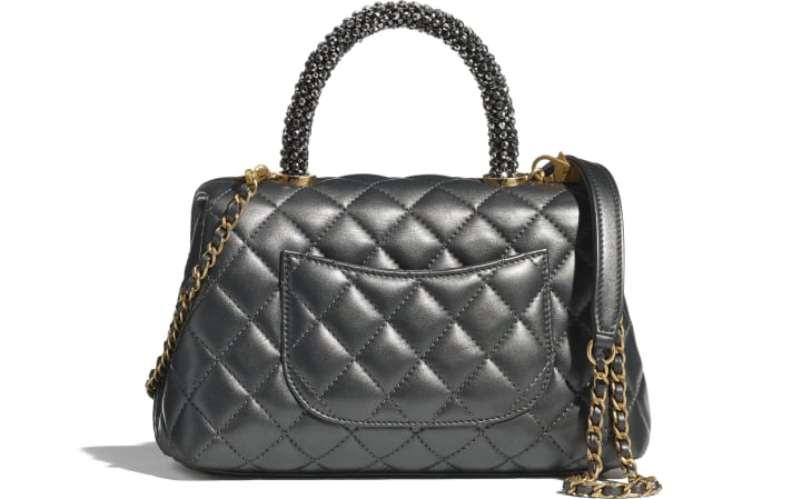 image 2 - Flap Bag with Top Handle - Calfskin, Strass & Gold-Tone Metal - Dark Silver