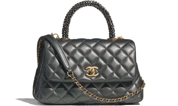 image 1 - Flap Bag with Top Handle - Calfskin, Strass & Gold-Tone Metal - Dark Silver