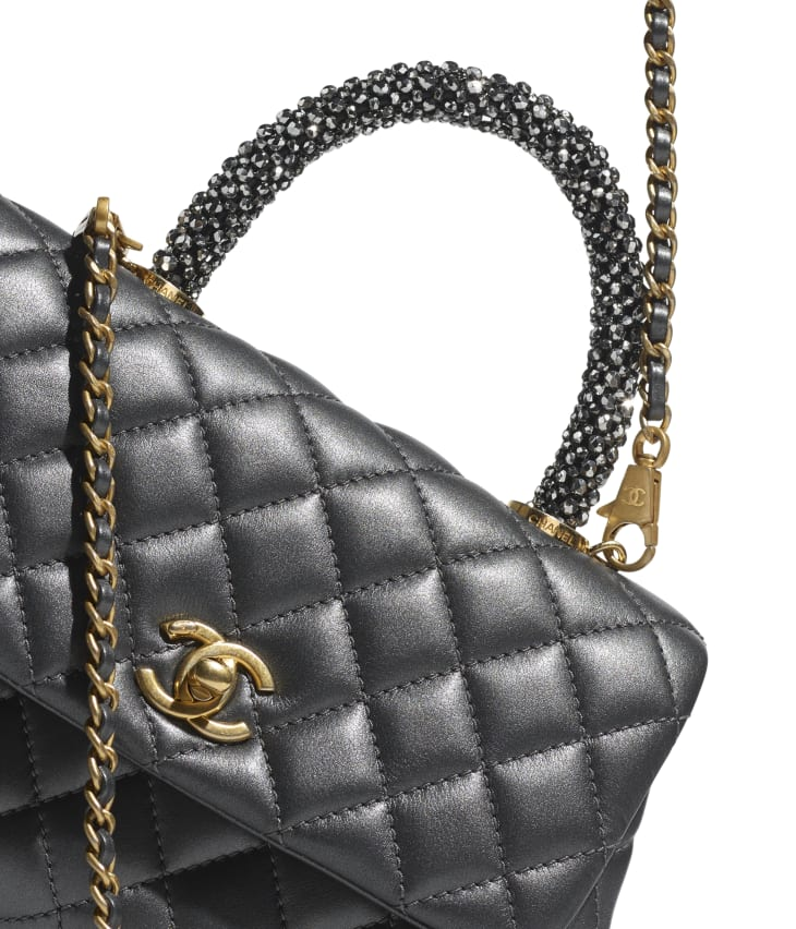 image 4 - Flap Bag with Top Handle - Calfskin, Strass & Gold-Tone Metal - Dark Silver