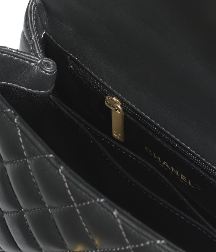 image 3 - Flap Bag with Top Handle - Calfskin, Strass & Gold-Tone Metal - Dark Silver